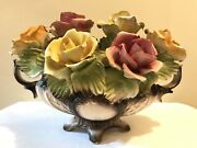 Large Antique Capodimonte Roses Flower Composition In Basket Crown N 16andrdquo X 12andrdquo