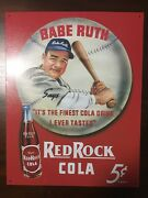 Babe Ruth Red Rock Cola Retro Vintage Reproduction Metal Tin Sign 9x12w/tag B1