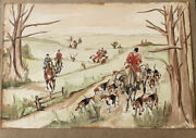 Vintage Original 1933 English Fox Hunt Water Color Painting Signed Artist Gallo