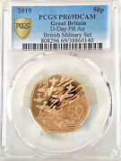 2019 50 Years Of 50p Military Set Piedfort Gold Proof 50p Coin D-day Pcgs Pr69dc