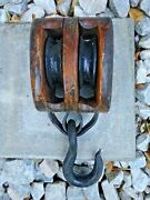Fine Old Vintage Antique Double Wood Block And Tackle Pulley Boating Farming