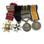 British Pre Ww1 Set Of 4 Sterling Silver 18k Gold Orders Medals. Mini.
