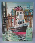 Mcm Abstract Tissue Paper Collage New England Fishing Boat Harbor By Amy Bennett