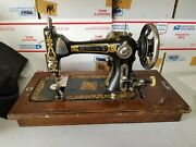 Antique Eldredge E Rotary Sewing Machine With Swing Away Motor Wooden Case