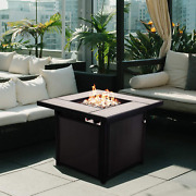 Large Patio Outdoor Propane Gas Fire Pit Table Square Firetable Textilene Wicker