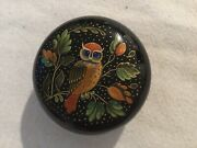 Vintage Russian Black Lacquer Circular Box Depicting Owl From Mystera Village