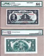 Bc-1s 1935 1 Bank Of Canada Specimen Note, Pmg Ch Unc64. Very Rare Note.