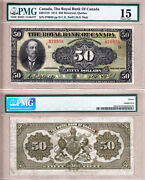 Rare Large Size 1913 50 Royal Bank Of Canada Chartered. Pmg Certified Fine15