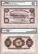 1936 Five Pounds Isle Of Man Bank Limited Douglas Bay Harbour. Pmg Cert Vf25