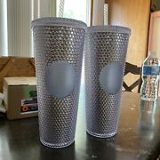 Set Of 2 Starbucks Venti Studded Silver And Pink Tumbler Cup 2019 Holiday
