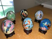 Lot Of Six Chinese Miniature Cloisonne Eggs With Stand Hand Painted Stunning