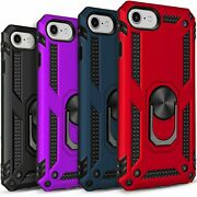 Iphone Se 2020 Case Ring Kickstand Shockproof Cover + Tempered Glass Protector