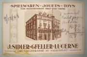 German Toy Mfg. Trade Card Finest Wood Carving Teddy Bears 1928 Store Front