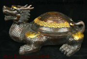 Collect China Bronze Fengshui Dragon Tortoise Loong Turtle God Beast Coin Statue