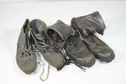Late 1980and039s Us Black Leather Combat Boots And Navy Swimming Shoes