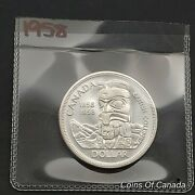 1958 Canada 1 Silver Dollar Uncirculated Coin - From Old Ms Roll Coinsofcanada
