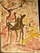 Purvis Young Original Unique Zulu Warrior Signed Acrylic On Board Horses
