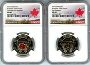 2018 Canada Ngc First Releases Ms66 100th Anniversary-armistice Toonie 2 Set