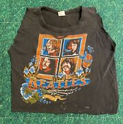 Vintage Original 70s The Beatles Forever Cropped Sleeveless Shirt Size M 1970s