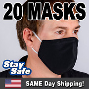 20 Washable Cotton Face Masks W/filter Pocket -5 Colors -usa Shipping Same Day