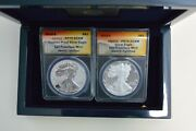 2012-s American Silver 2-coin Set Anacs Reverse/proof Rp70/pr70 With Box/coa