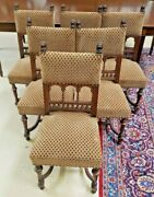 Set Of 6 Antique French Turned And Carved Walnut Lion Head Chairs Comfortable
