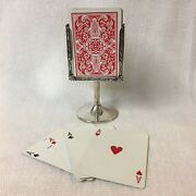 Sterling Silver Standing Playing Card Holder Elegant Style For A Card Game