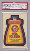 1973 Topps Wacky Packages Cloth Mrs. Klean Psa 6 Exmt Series 1 Packs Tuff 1/5