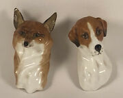 Very Rare Royal Worcester Fox And Hound Figurines 3024 And 3025 By Doris Lindner