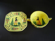 2 Piecesh B Quimpersoleil-yellowbread Plate Man And Cream Soup Woman