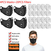 4pc Masks Washable Anti-fog Haze Face Mouth Cover Protetion Respirator W Filters