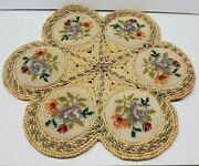 Vintage Colored Cross Stitch Wicker Straw Hot Pads Woven Rattan Trivet 17''