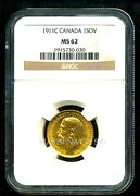 Canada 1911 C Gold Coin Gv Sovereign Ngc Certified Genuine Ms 62 Splendid