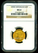 Switzerland 1890 B Gold Coin 20 Francs Ngc Certified Genuine Ms 61 Gorgeous