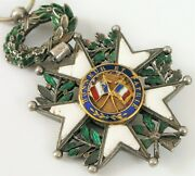Antique French Military Medal Legion Of Honour Sterling Silver Enamel Flags