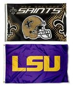 1 New Orleans Saints Helmet Nfl And 1 Lsu Tigers 3x5 Sports Flags Large Banners