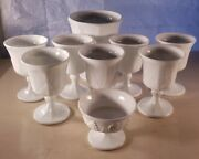 Vintage Harvest Milk Glass By Colony - 9 Pc Lot - 7 Wine 1 Cup 1 Planter Candy