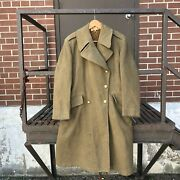 Vintage 40s 50s 60s Melton Wool Wwii Military Army Overcoat Trench Jacket Green