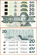 4 Sequential Serial 1991 20 Bank Of Canada Bird Series Notes. Bc-58b Gem Unc