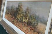 Tony Forrest Zebra And Impala Original Painting Immaculate Condition