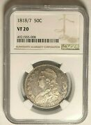 1818/7 Capped Bust Half Dollar Ngc Vf20strong 1818/7,clear Liberty And Arrow Tips