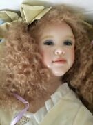 Wax Over Porcelain Art Doll By Krey Sweet Adeline W/leather Trunk New 8/15