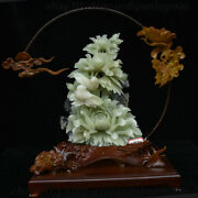 17 China Natural Dongbei Xiuyu Jade Carving Subshrubby Peony Flower Bird Statue