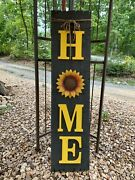 Primitive Rustic Farmhouse Wood Home With Sunflower 48 X 12 Porch Sign