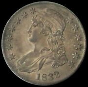 1832 Silver Usa Capped Bust Half Dollar Coin About Uncirculated