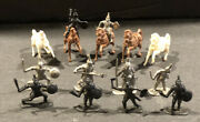 15 Marx/giant/airfix Style Vintage Miniature Knights 172 Mounted And Infantry