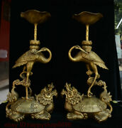 China Brass Dragon Tortoise Turtle Red-crowned Crane Candle Holder Candlestick