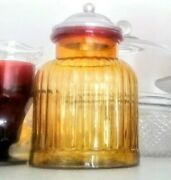 Vintage Orange And Red Glass Canister Vertical Rib With Aluminium Lid