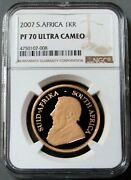 2007 Gold South Africa 1oz Krugerrand Ngc Proof 70 Ultra Cameo