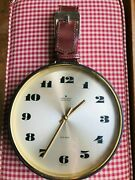 Vintage Junghans Atomat Electronic Wall Clock With Leather Buckle Strap German